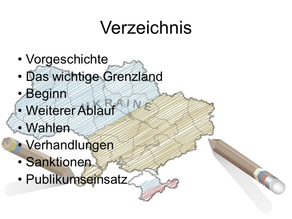 Verzeichnis Vorgeschichte Das wichtige Grenzland Beginn Weiterer Ablauf Wahlen Verhandlungen Sanktionen Publikumseinsatz