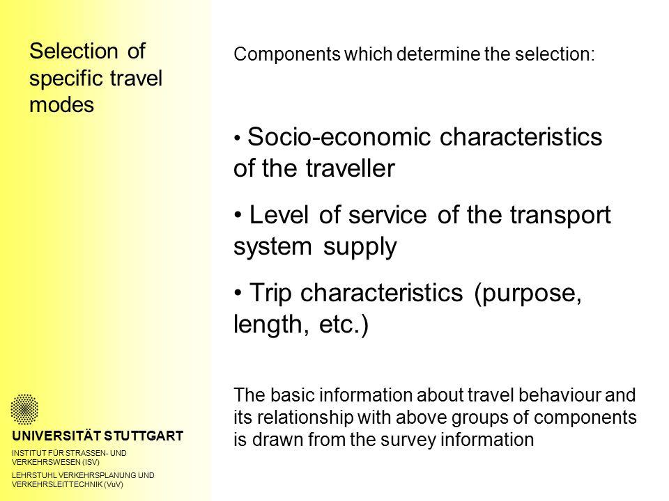 Selection of specific travel modes UNIVERSITÄT STUTTGART INSTITUT FÜR STRASSEN- UND VERKEHRSWESEN (ISV) LEHRSTUHL VERKEHRSPLANUNG UND VERKEHRSLEITTECH