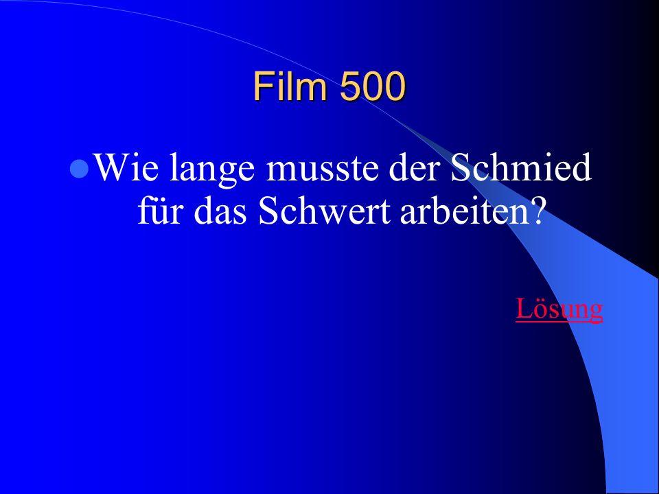 Film 500 Wie lange musste der Schmied für das Schwert arbeiten Lösung
