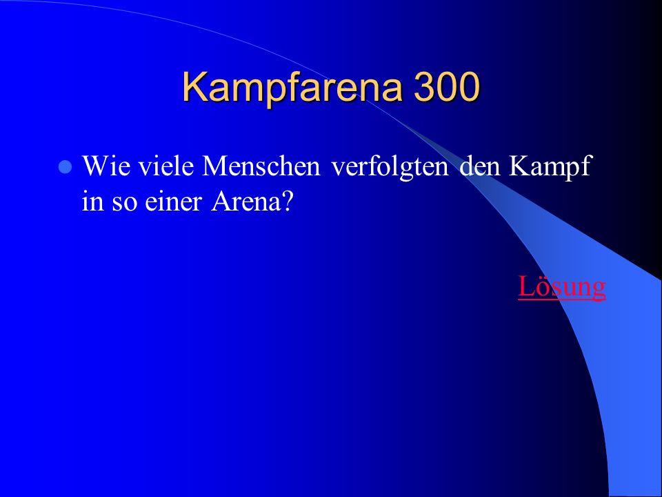 Kampfarena 300 Wie viele Menschen verfolgten den Kampf in so einer Arena Lösung