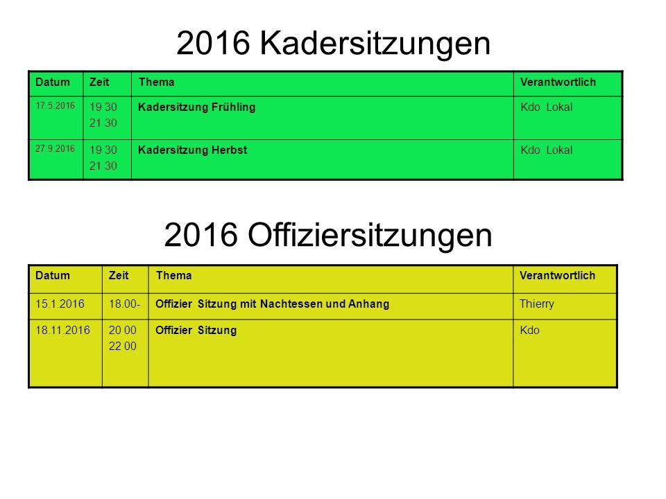 2016 Kadersitzungen DatumZeitThemaVerantwortlich 17.5.2016 19 30 21 30 Kadersitzung FrühlingKdo Lokal 27.9.2016 19 30 21 30 Kadersitzung HerbstKdo Lok