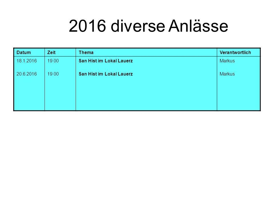 2016 diverse Anlässe DatumZeitThemaVerantwortlich 18.1.2016 20.6.2016 19 00 San Hist im Lokal Lauerz Markus