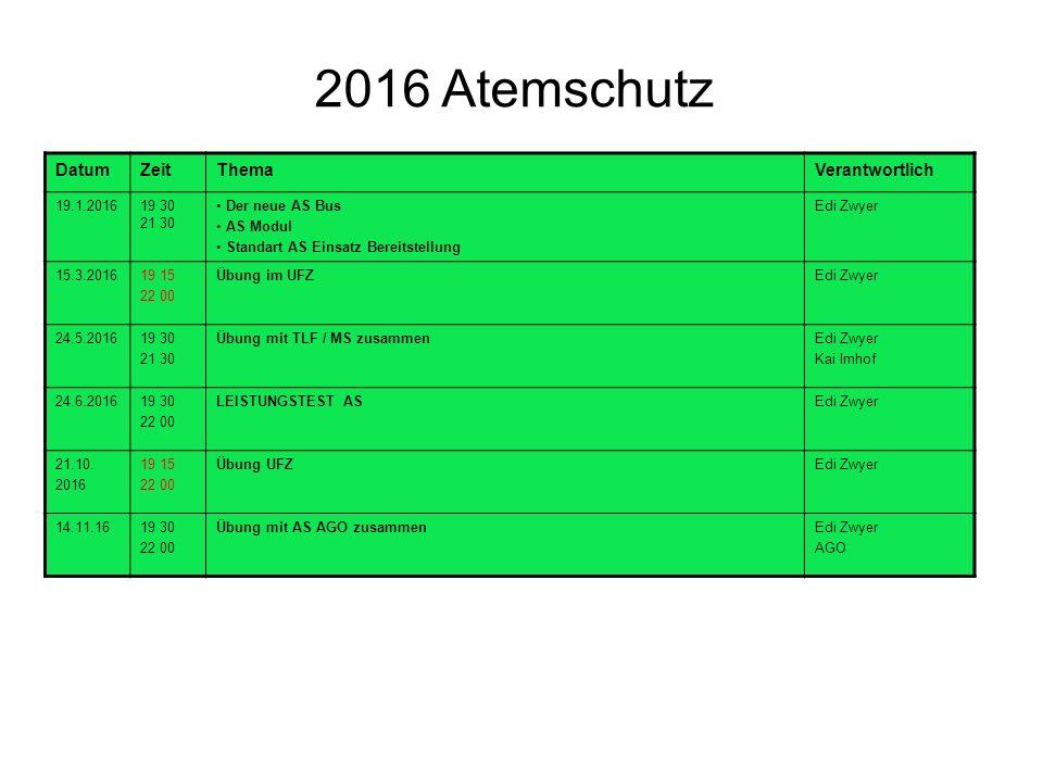 2016 Atemschutz DatumZeitThemaVerantwortlich 19.1.201619 30 21 30 Der neue AS Bus AS Modul Standart AS Einsatz Bereitstellung Edi Zwyer 15.3.201619 15 22 00 Übung im UFZEdi Zwyer 24.5.201619 30 21 30 Übung mit TLF / MS zusammenEdi Zwyer Kai Imhof 24.6.201619 30 22 00 LEISTUNGSTEST ASEdi Zwyer 21.10.