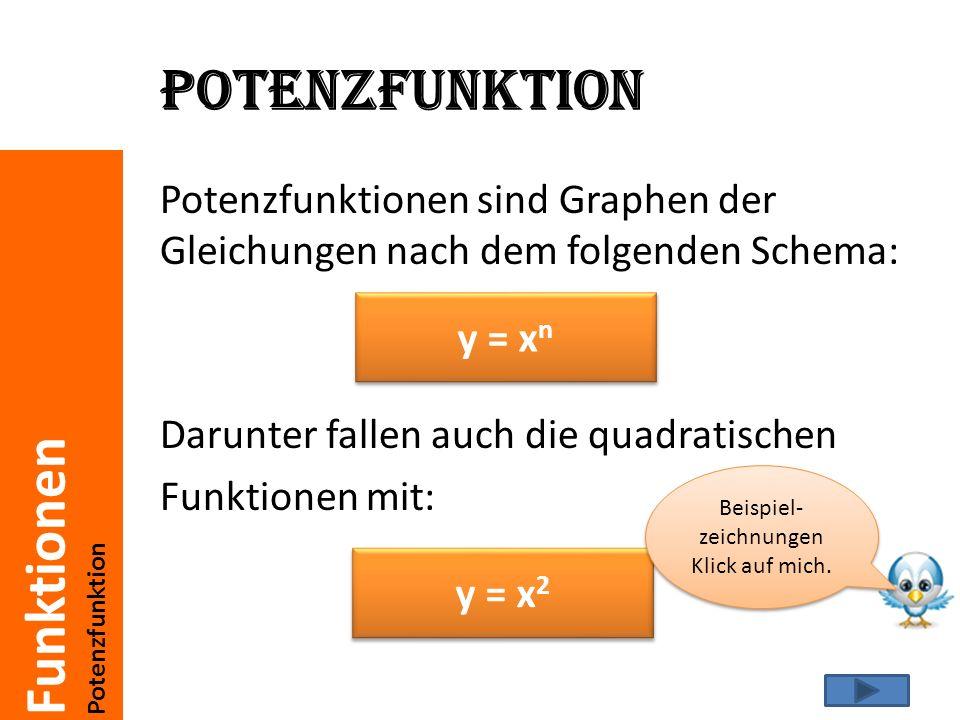 Funktionen Potenzfunktion Beispiel y = x² xy -24 -1,52,25 1 -0,50,25 00 0,50,25 11 1,52,25 24 Das hier ist z.B.