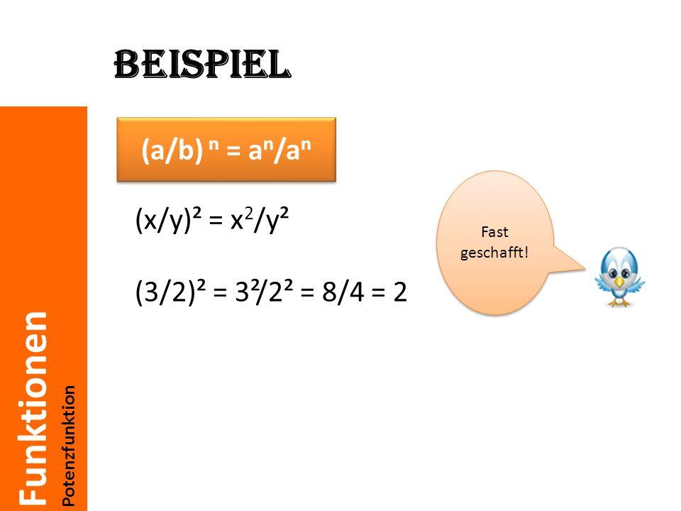 Funktionen Potenzfunktion Beispiel (x*y)² = x² * y² (2*2)² = 2² * 2² = 4 * 4 = 16 Es ist wichtig die Formeln richtig anzuwenden zu können.