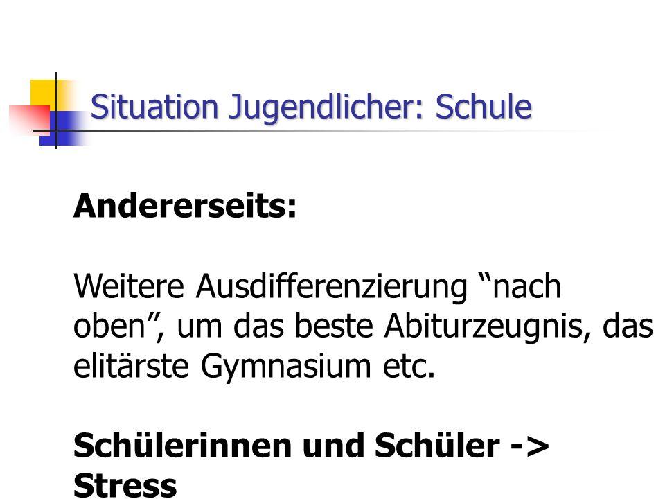 """Situation Jugendlicher: Schule Andererseits: Weitere Ausdifferenzierung """"nach oben"""", um das beste Abiturzeugnis, das elitärste Gymnasium etc. Schüleri"""