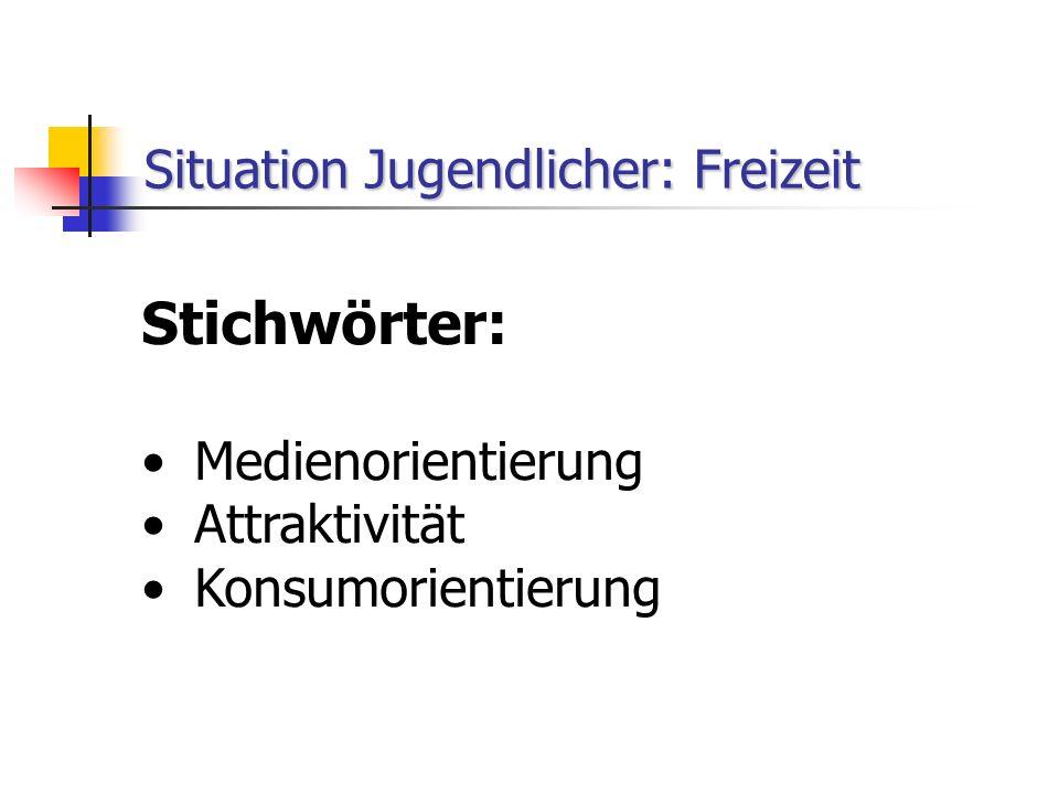 Situation Jugendlicher: Freizeit Stichwörter: Medienorientierung Attraktivität Konsumorientierung
