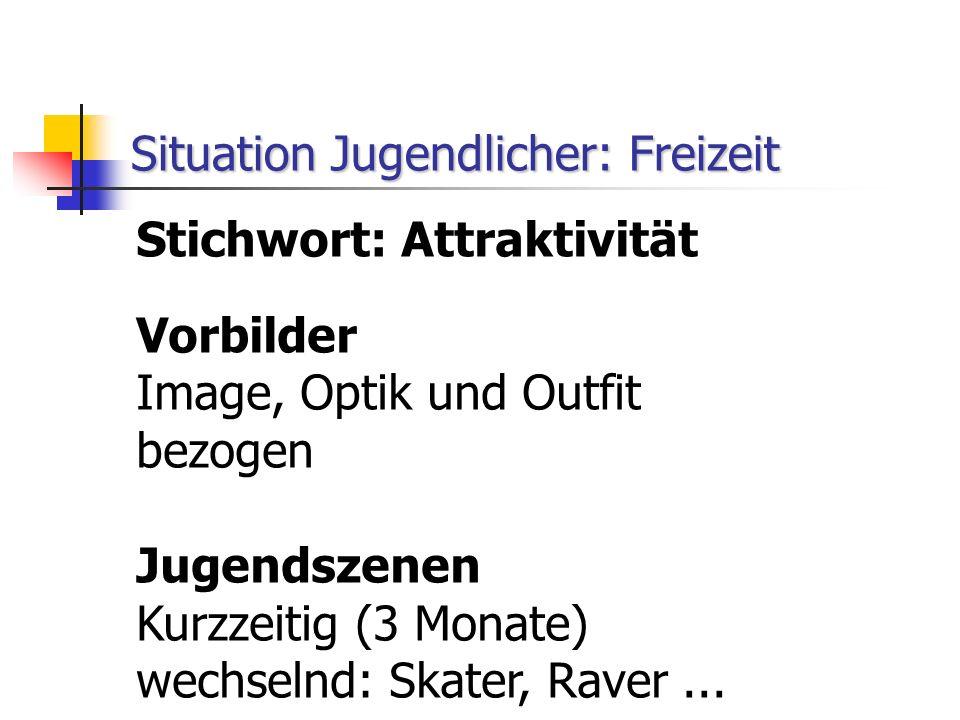 Stichwort: Attraktivität Vorbilder Image, Optik und Outfit bezogen Jugendszenen Kurzzeitig (3 Monate) wechselnd: Skater, Raver...