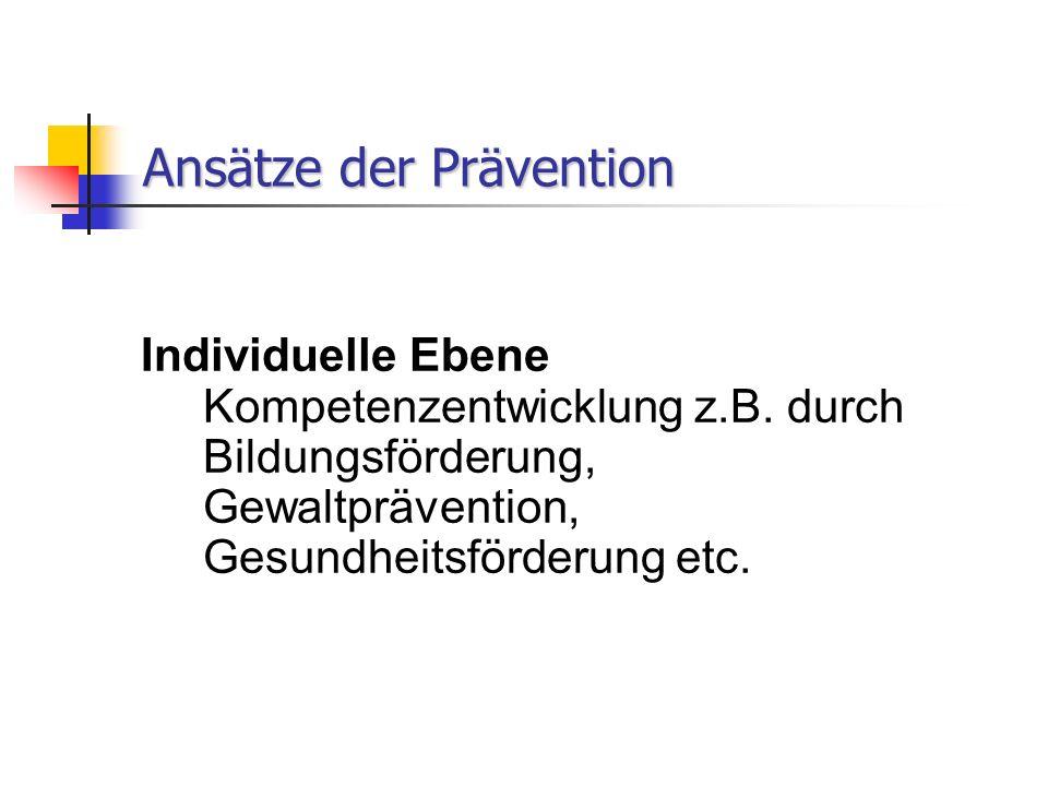 Ansätze der Prävention Individuelle Ebene Kompetenzentwicklung z.B.