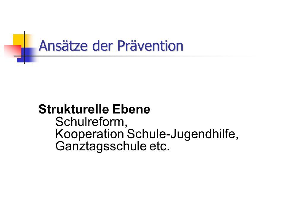 Ansätze der Prävention Strukturelle Ebene Schulreform, Kooperation Schule-Jugendhilfe, Ganztagsschule etc.