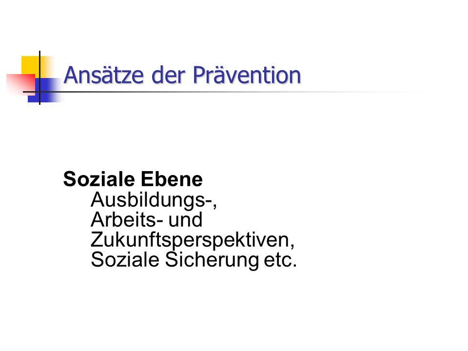 Ansätze der Prävention Soziale Ebene Ausbildungs-, Arbeits- und Zukunftsperspektiven, Soziale Sicherung etc.