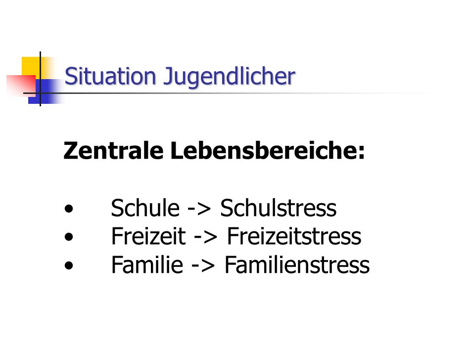 Situation Jugendlicher Zentrale Lebensbereiche: Schule -> Schulstress Freizeit -> Freizeitstress Familie -> Familienstress