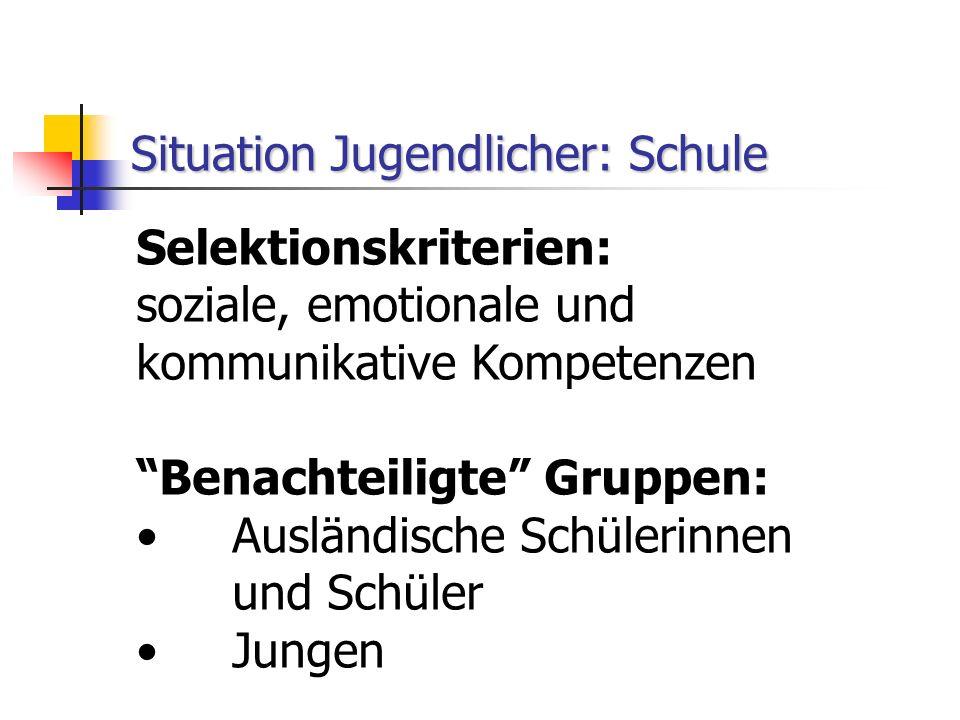 Situation Jugendlicher: Schule Selektionskriterien: soziale, emotionale und kommunikative Kompetenzen Benachteiligte Gruppen: Ausländische Schülerinnen und Schüler Jungen