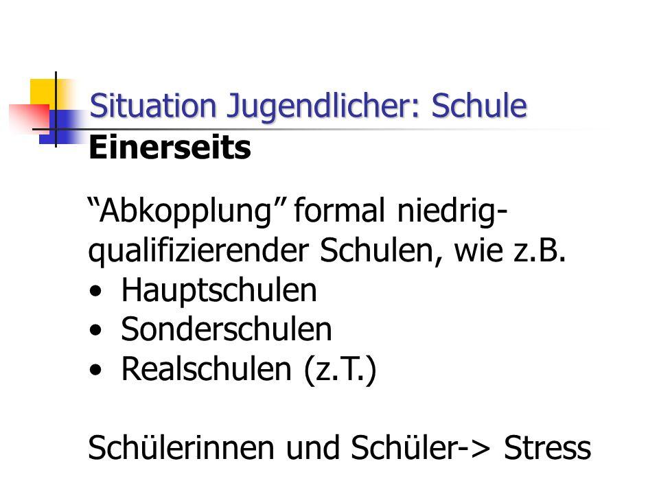 """Situation Jugendlicher: Schule Einerseits """"Abkopplung"""" formal niedrig- qualifizierender Schulen, wie z.B. Hauptschulen Sonderschulen Realschulen (z.T."""
