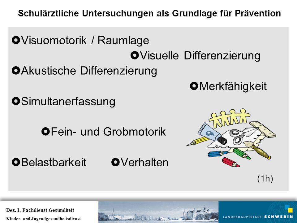  Visuomotorik / Raumlage  Visuelle Differenzierung  Akustische Differenzierung  Merkfähigkeit  Simultanerfassung  Fein- und Grobmotorik  Belastbarkeit  Verhalten (1h) Schulärztliche Untersuchungen als Grundlage für Prävention Dez.