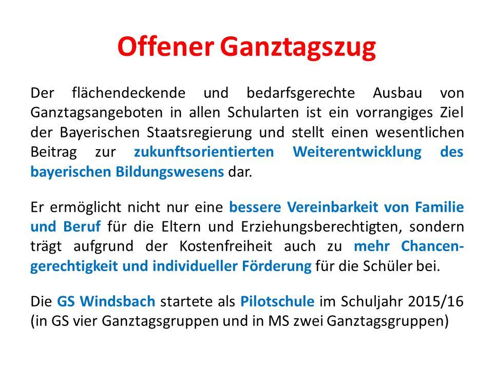 Offener Ganztagszug Der flächendeckende und bedarfsgerechte Ausbau von Ganztagsangeboten in allen Schularten ist ein vorrangiges Ziel der Bayerischen Staatsregierung und stellt einen wesentlichen Beitrag zur zukunftsorientierten Weiterentwicklung des bayerischen Bildungswesens dar.