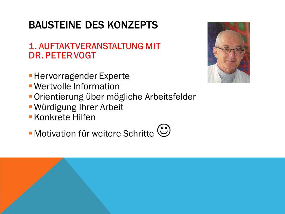 BAUSTEINE DES KONZEPTS 1. AUFTAKTVERANSTALTUNG MIT DR.