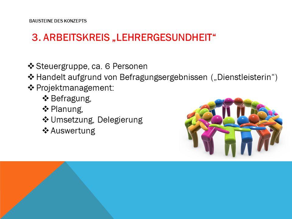 """BAUSTEINE DES KONZEPTS 3. ARBEITSKREIS """"LEHRERGESUNDHEIT  Steuergruppe, ca."""