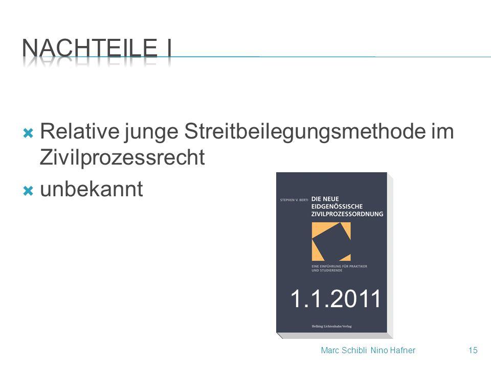  Relative junge Streitbeilegungsmethode im Zivilprozessrecht  unbekannt 1.1.2011 Marc SchibliNino Hafner15