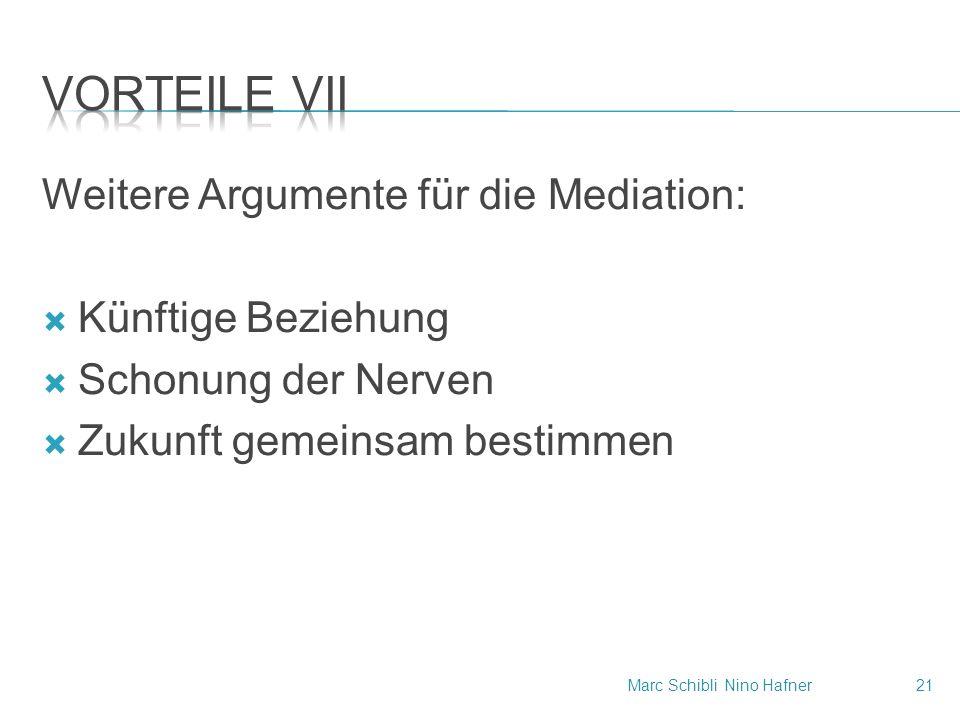 Weitere Argumente für die Mediation:  Künftige Beziehung  Schonung der Nerven  Zukunft gemeinsam bestimmen Marc SchibliNino Hafner21