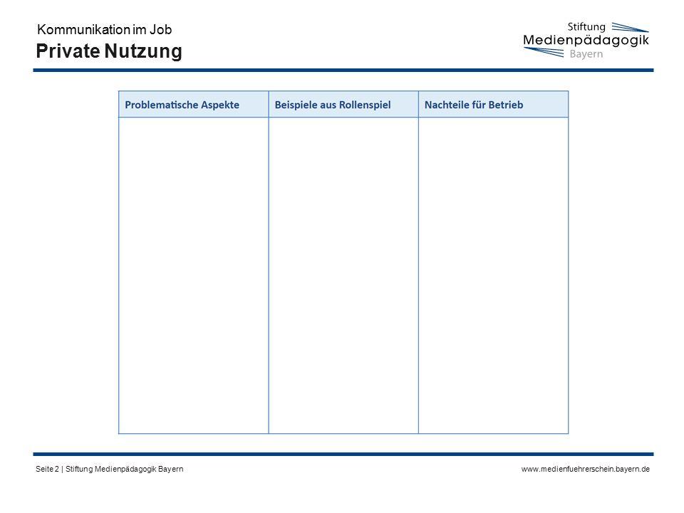 www.medienfuehrerschein.bayern.deSeite 2 | Stiftung Medienpädagogik Bayern Private Nutzung Kommunikation im Job