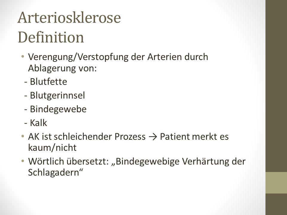 Arteriosklerose Definition Verengung/Verstopfung der Arterien durch Ablagerung von: - Blutfette - Blutgerinnsel - Bindegewebe - Kalk AK ist schleichen