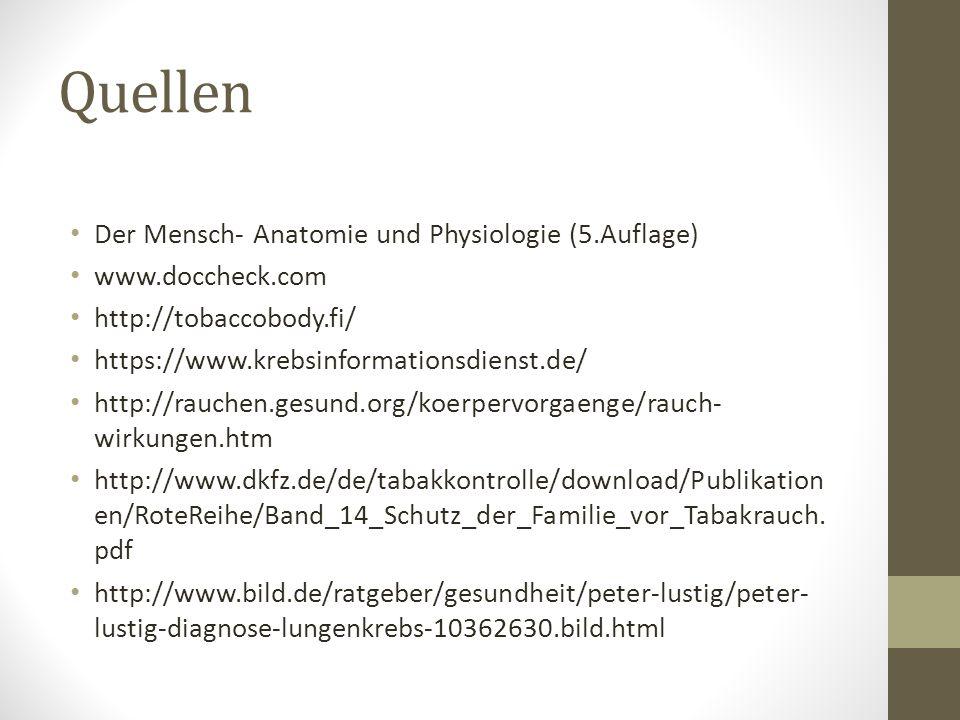 Quellen Der Mensch- Anatomie und Physiologie (5.Auflage) www.doccheck.com http://tobaccobody.fi/ https://www.krebsinformationsdienst.de/ http://rauche