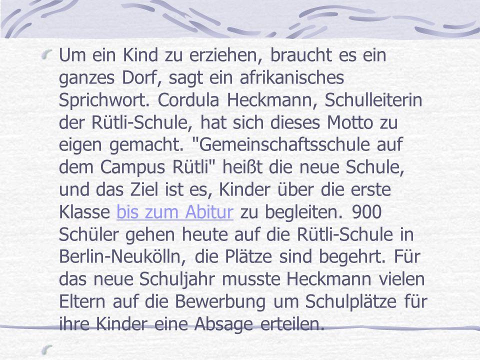 Seit 2009 ist Cordula Heckmann Leiterin der Schule, sie kam drei Jahre, nachdem die Lehrer der damaligen Hauptschule beim Berliner Bildungssenator die Schließung der Schule verlangten, weil sie der Gewalt der Schüler nicht mehr standhalten konnten.