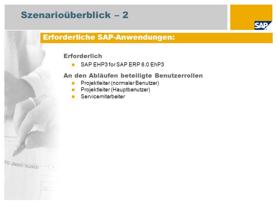 Szenarioüberblick – 2 Erforderlich SAP EHP3 for SAP ERP 6.0 EhP3 An den Abläufen beteiligte Benutzerrollen Projektleiter (normaler Benutzer) Projektleiter (Hauptbenutzer) Servicemitarbeiter Erforderliche SAP-Anwendungen: