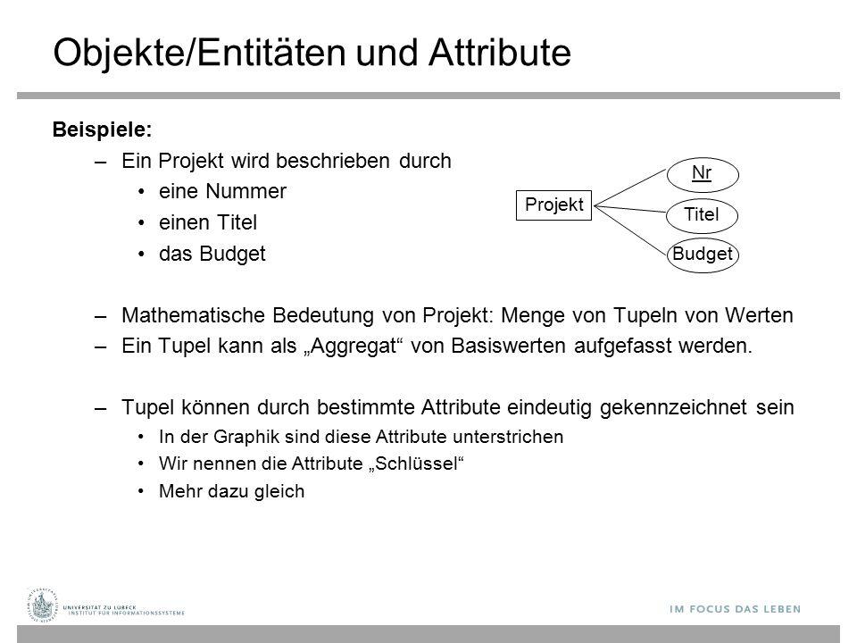"""Projekt NrTitelBudget Objekte/Entitäten und Attribute Beispiele: –Ein Projekt wird beschrieben durch eine Nummer einen Titel das Budget –Mathematische Bedeutung von Projekt: Menge von Tupeln von Werten –Ein Tupel kann als """"Aggregat von Basiswerten aufgefasst werden."""