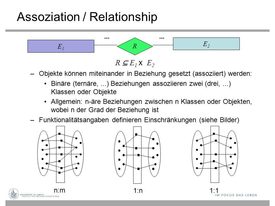 Assoziation / Relationship –Objekte können miteinander in Beziehung gesetzt (assoziiert) werden: Binäre (ternäre,...) Beziehungen assoziieren zwei (drei,...) Klassen oder Objekte Allgemein: n-äre Beziehungen zwischen n Klassen oder Objekten, wobei n der Grad der Beziehung ist –Funktionalitätsangaben definieren Einschränkungen (siehe Bilder) E1E1 E2E2 R...