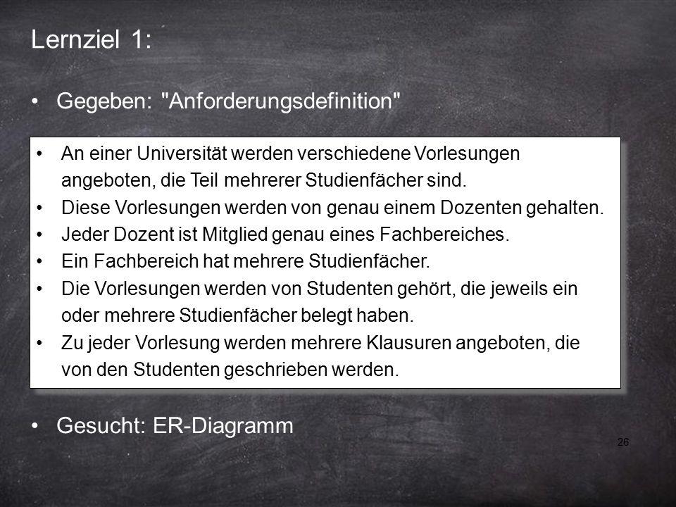 26 Lernziel 1: An einer Universität werden verschiedene Vorlesungen angeboten, die Teil mehrerer Studienfächer sind.