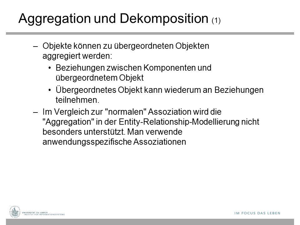 Aggregation und Dekomposition (1) –Objekte können zu übergeordneten Objekten aggregiert werden: Beziehungen zwischen Komponenten und übergeordnetem Ob