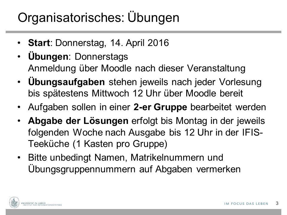 Organisatorisches: Übungen Start: Donnerstag, 14. April 2016 Übungen: Donnerstags Anmeldung über Moodle nach dieser Veranstaltung Übungsaufgaben stehe