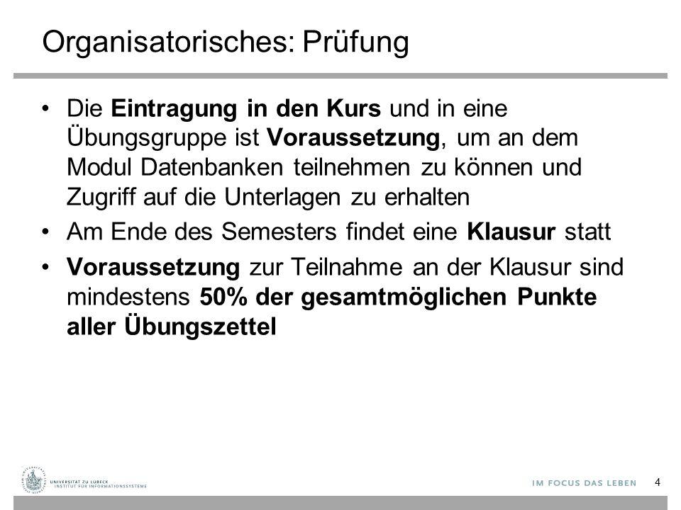 Literatur A.Kemper, A. Eickler, Datenbanksysteme: Eine Einführung, 9.