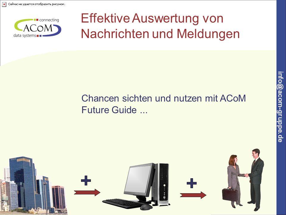 2 Tendenzen und Hinweise sichten und Chancen nutzen ACoM Future Guide ist entwickelt worden, um die Fülle der täglichen Informationen auszuwerten und in konkrete Handlungsanweisungen umzusetzen.