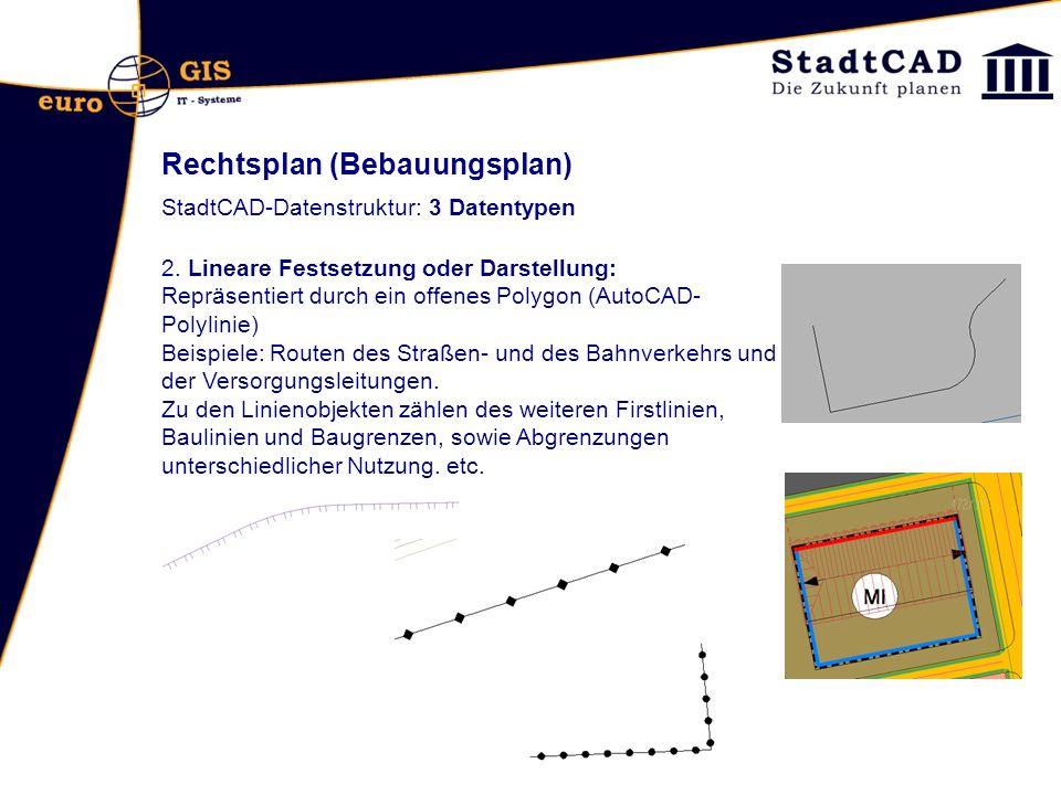 Rechtsplan (Bebauungsplan) StadtCAD-Datenstruktur: 3 Datentypen 2. Lineare Festsetzung oder Darstellung: Repräsentiert durch ein offenes Polygon (Auto