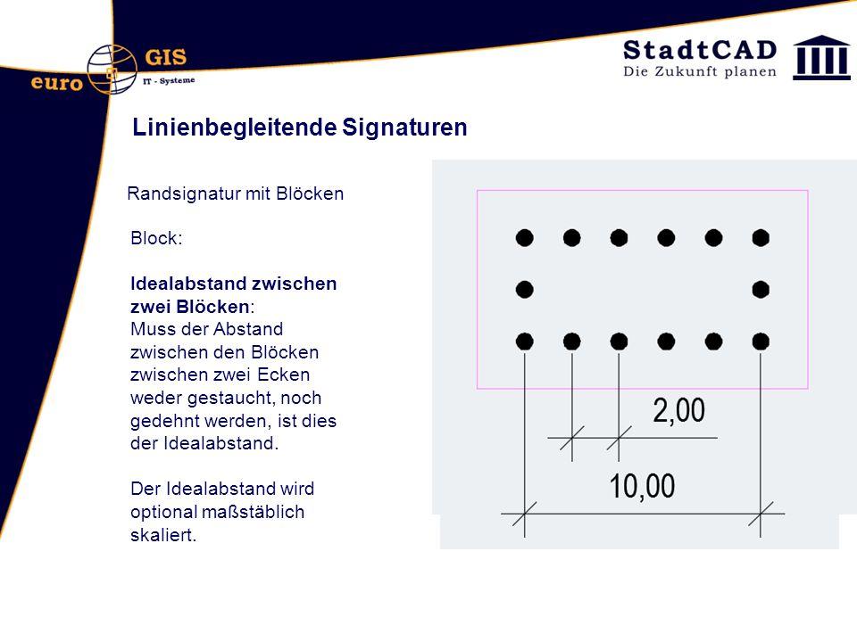 Linienbegleitende Signaturen Randsignatur mit Blöcken Block: Idealabstand zwischen zwei Blöcken: Muss der Abstand zwischen den Blöcken zwischen zwei Ecken weder gestaucht, noch gedehnt werden, ist dies der Idealabstand.