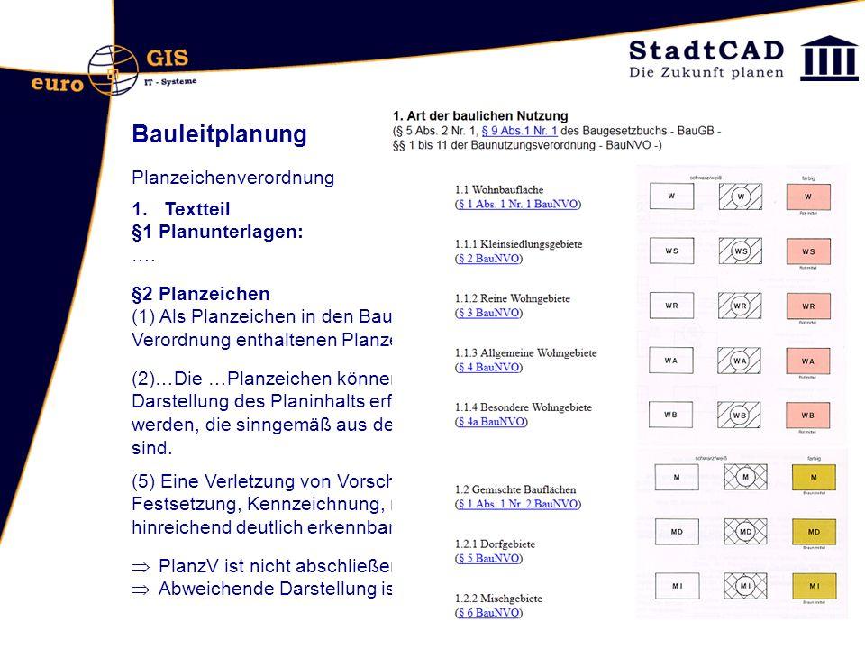 Bauleitplanung Planzeichenverordnung 1.Textteil §1 Planunterlagen: ….