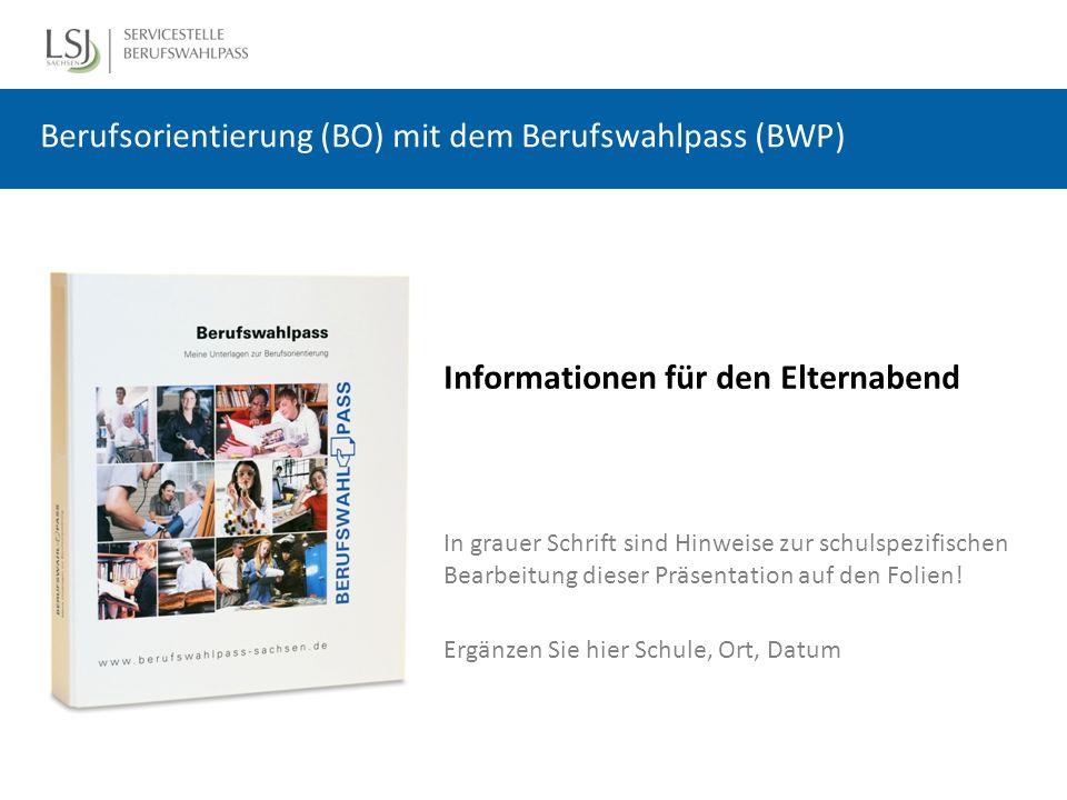 Der Berufswahlpass (BWP) ist ein Lern- und Arbeitsmaterial zur Berufsorientierung (BO) für Schüler ist in 13 Bundesländern im Einsatz wird in Regie der Schulen eingeführt wird von Schulpartnern in der BO unterstützt und genutzt, z.