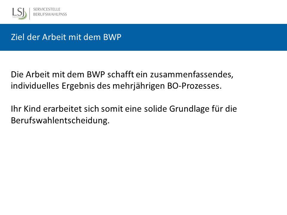 Ziel der Arbeit mit dem BWP Die Arbeit mit dem BWP schafft ein zusammenfassendes, individuelles Ergebnis des mehrjährigen BO-Prozesses.