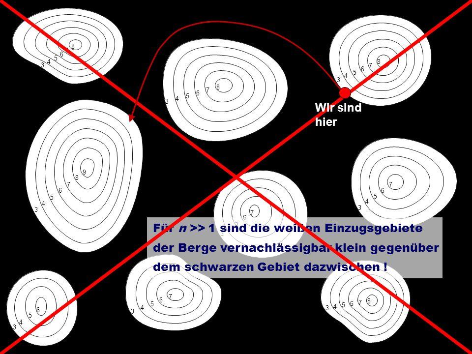 9 9 3 4 5 6 7 8 9 3 4 5 6 7 8 3 4 5 6 7 8 3 4 5 6 7 8 3 4 5 6 7 3 4 5 6 7 3 4 5 6 3 4 5 6 7 3 4 5 6 7 8 Für n >> 1 sind die weißen Einzugsgebiete der Berge vernachlässigbar klein gegenüber dem schwarzen Gebiet dazwischen .