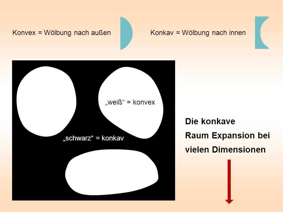 Konkav = Wölbung nach innen Die konkave Raum Expansion bei vielen Dimensionen Konvex = Wölbung nach außen weiß.