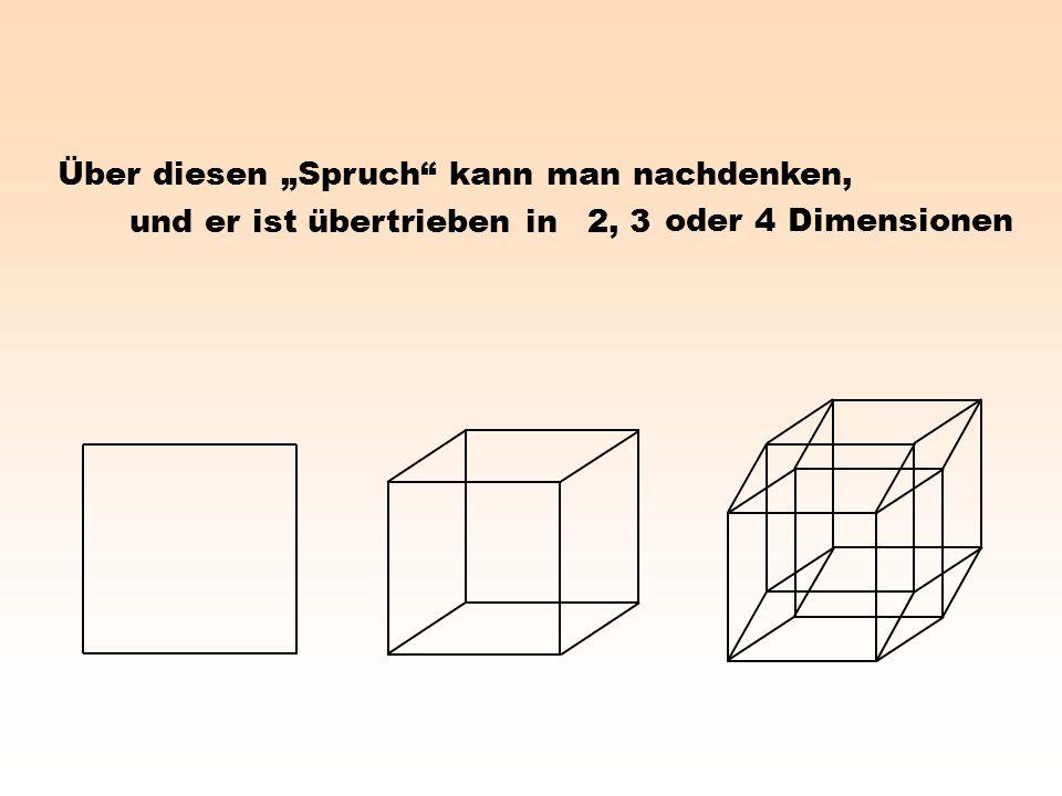 """Über diesen """"Spruch kann man nachdenken, 2, 3 oder 4 Dimensionen und er ist übertrieben in"""