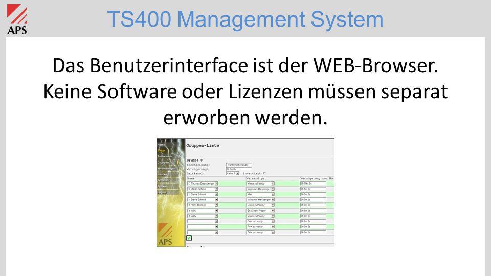 Das Benutzerinterface ist der WEB-Browser.