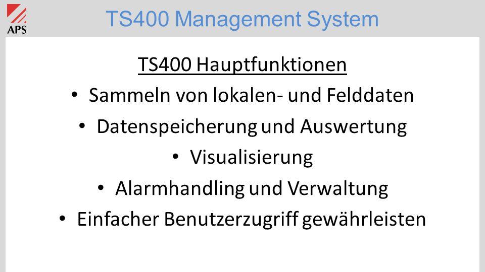 TS400 Hauptfunktionen Sammeln von lokalen- und Felddaten Datenspeicherung und Auswertung Visualisierung Alarmhandling und Verwaltung Einfacher Benutzerzugriff gewährleisten