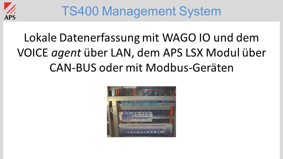 TS400 Management System TS400 Applikation: Klärwerk mit Aussenstation