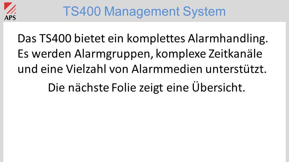 TS400 Management System TS400 Applikation: Spitäler/Seniorenheime