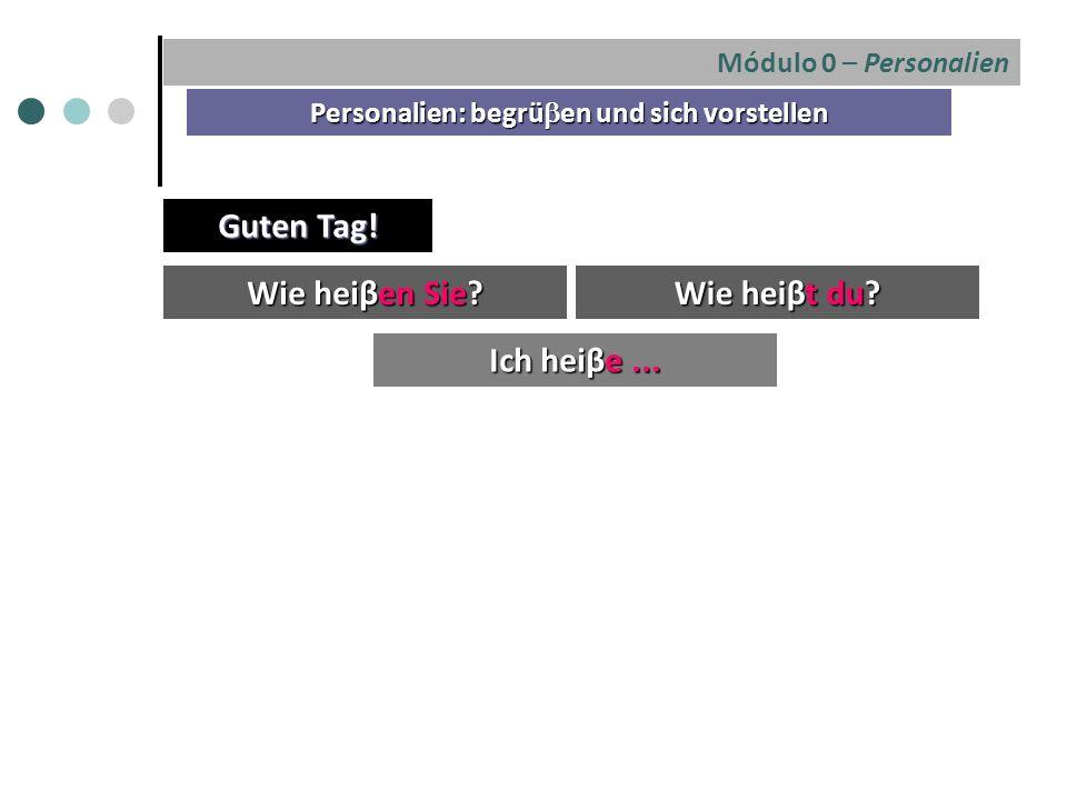 Módulo 0 – Personalien Personalien: begrü  en und sich vorstellen Wie heiβen Sie.