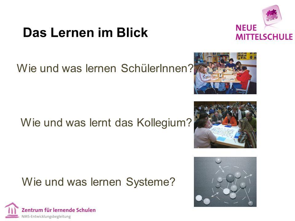Wie und was lernen Systeme? Wie und was lernt das Kollegium? Wie und was lernen SchülerInnen? Das Lernen im Blick